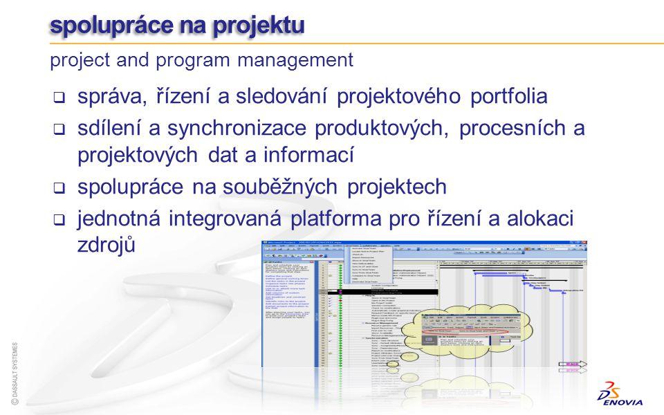 PGM ENOVIA SmarTeam Program Management společná správa a řízení PLM a projektových dat mezi dislokovanými vývojovými a projektovými týmy těsná integrace PLM řešení s Microsoft® Project váže produktové a procesní údaje s plánováním projektů, jejich úloh a zdrojů vizuální přehled o reálném stavu a průběhu projektů distribuce jednotlivých úloh účastníkům projektu správa více projektů (úloh) a jejich vzájemné závislosti snadné opětovné použití dat z předchozích projektů rychlý start nového projektu