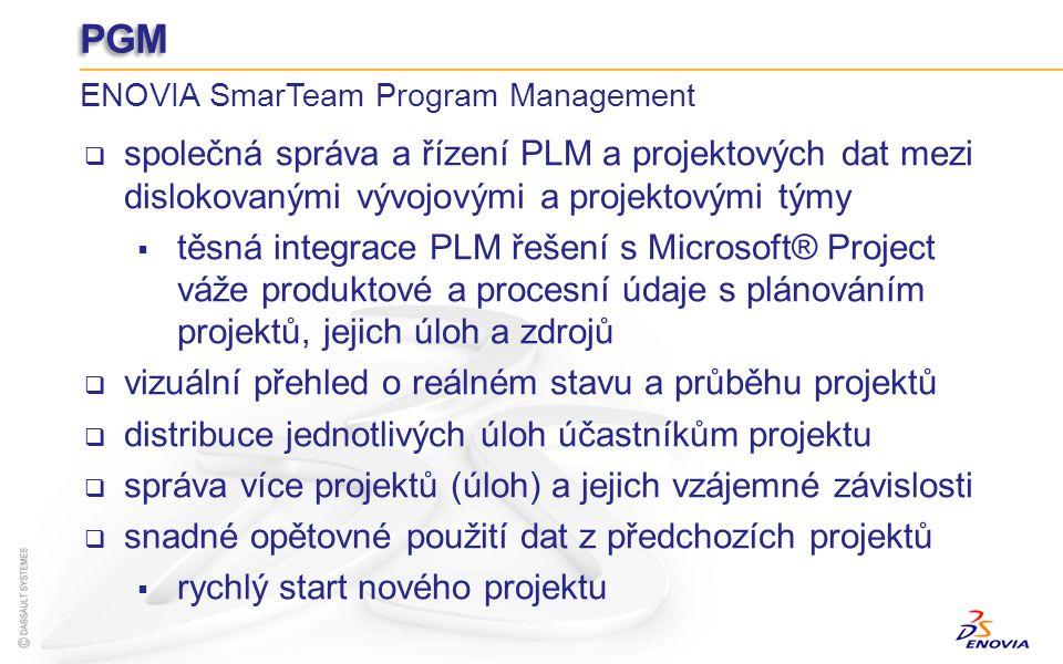 PGM ENOVIA SmarTeam Program Management společná správa a řízení PLM a projektových dat mezi dislokovanými vývojovými a projektovými týmy těsná integra