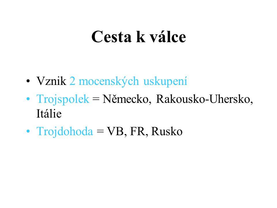 Vznik 2 mocenských uskupení Trojspolek = Německo, Rakousko-Uhersko, Itálie Trojdohoda = VB, FR, Rusko Cesta k válce