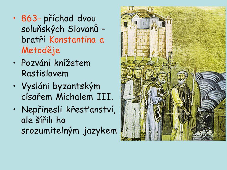 Cyrilometodějská mise Snaha vymanit se z východofranckého a bavorského vlivu Získat samostatnou církevní organizaci / biskupa = politickou nezávislost