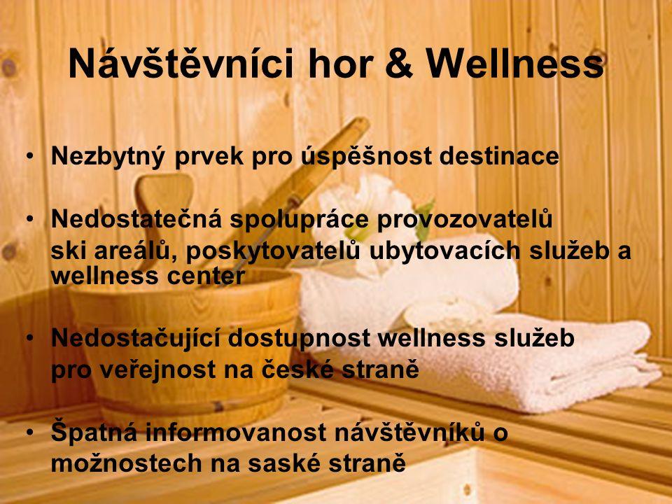 Návštěvníci hor & Wellness Nezbytný prvek pro úspěšnost destinace Nedostatečná spolupráce provozovatelů ski areálů, poskytovatelů ubytovacích služeb a wellness center Nedostačující dostupnost wellness služeb pro veřejnost na české straně Špatná informovanost návštěvníků o možnostech na saské straně