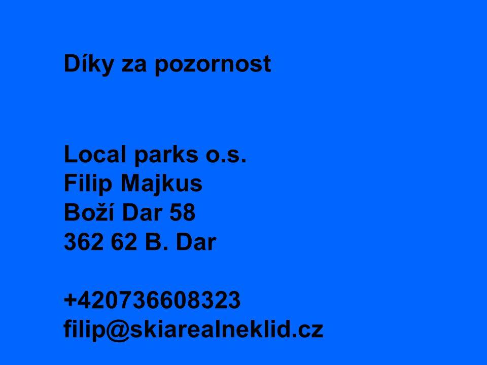 Díky za pozornost Local parks o.s. Filip Majkus Boží Dar 58 362 62 B.