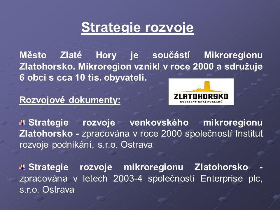 Strategie rozvoje Město Zlaté Hory je součástí Mikroregionu Zlatohorsko. Mikroregion vznikl v roce 2000 a sdružuje 6 obcí s cca 10 tis. obyvateli. Roz