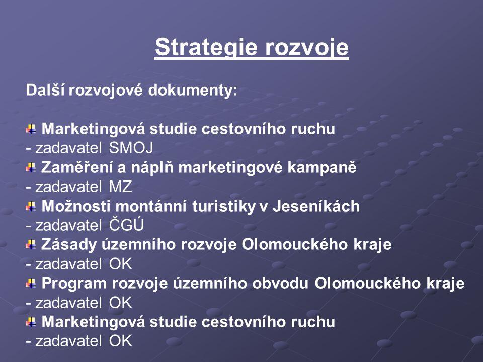 Strategie rozvoje Další rozvojové dokumenty: Marketingová studie cestovního ruchu - zadavatel SMOJ Zaměření a náplň marketingové kampaně - zadavatel M