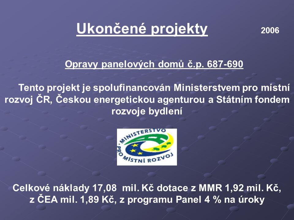 Ukončené projekty 2006 Opravy panelových domů č.p. 687-690 Tento projekt je spolufinancován Ministerstvem pro místní rozvoj ČR, Českou energetickou ag