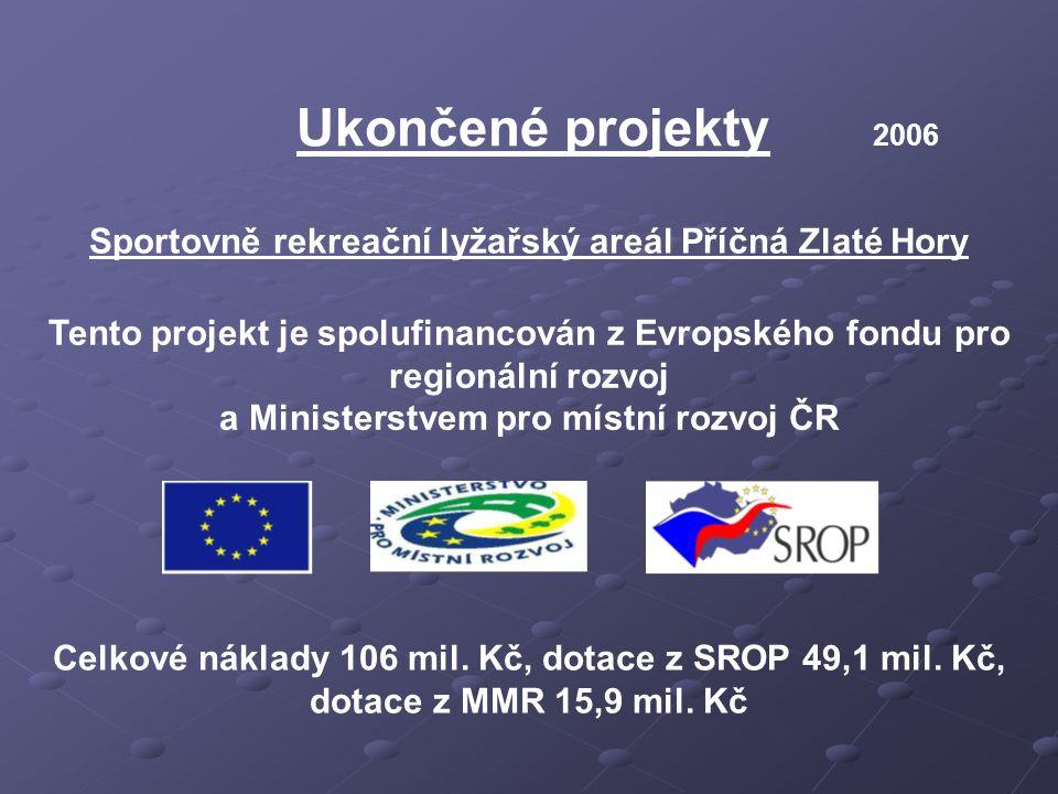 Ukončené projekty 2006 Sportovně rekreační lyžařský areál Příčná Zlaté Hory Tento projekt je spolufinancován z Evropského fondu pro regionální rozvoj a Ministerstvem pro místní rozvoj ČR Celkové náklady 106 mil.