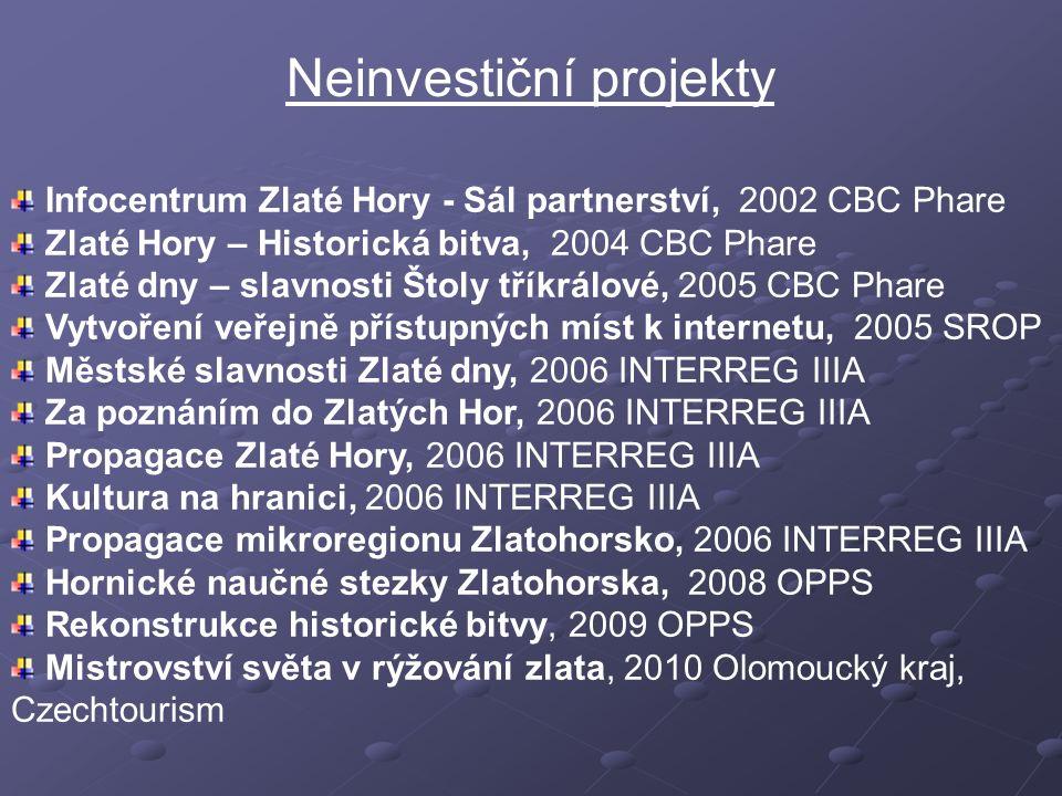 Neinvestiční projekty Infocentrum Zlaté Hory - Sál partnerství, 2002 CBC Phare Zlaté Hory – Historická bitva, 2004 CBC Phare Zlaté dny – slavnosti Što