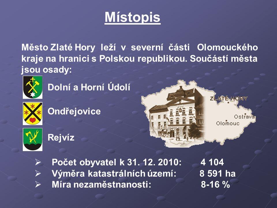 Místopis Město Zlaté Hory leží v severní části Olomouckého kraje na hranici s Polskou republikou. Součástí města jsou osady:  Počet obyvatel k 31. 12