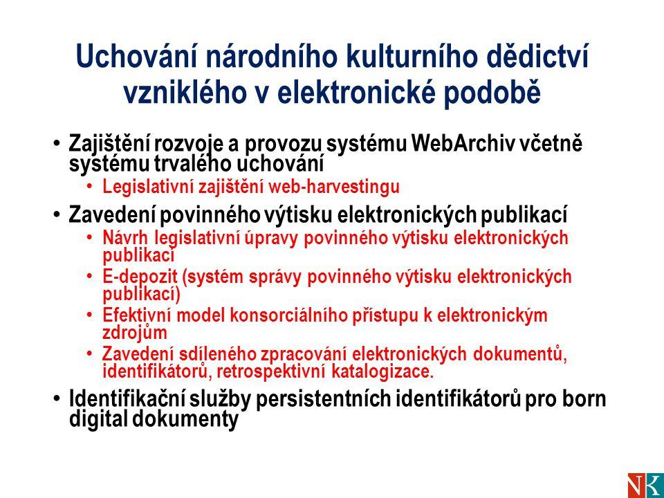 Uchování národního kulturního dědictví vzniklého v elektronické podobě Zajištění rozvoje a provozu systému WebArchiv včetně systému trvalého uchování