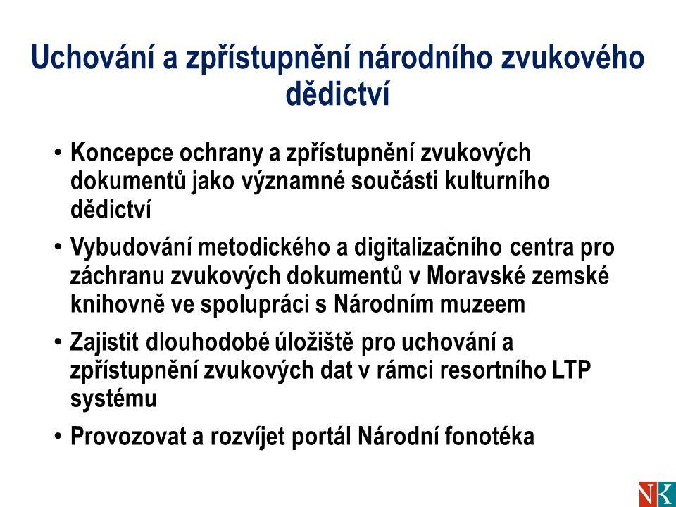 Uchování a zpřístupnění národního zvukového dědictví Koncepce ochrany a zpřístupnění zvukových dokumentů jako významné součásti kulturního dědictví Vybudování metodického a digitalizačního centra pro záchranu zvukových dokumentů v Moravské zemské knihovně ve spolupráci s Národním muzeem Zajistit dlouhodobé úložiště pro uchování a zpřístupnění zvukových dat v rámci resortního LTP systému Provozovat a rozvíjet portál Národní fonotéka