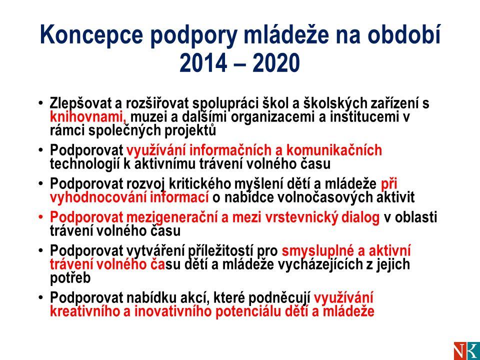 Koncepce podpory mládeže na období 2014 – 2020 Zlepšovat a rozšiřovat spolupráci škol a školských zařízení s knihovnami, muzei a dalšími organizacemi