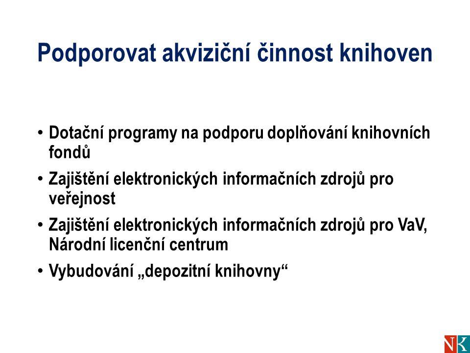 Podporovat akviziční činnost knihoven Dotační programy na podporu doplňování knihovních fondů Zajištění elektronických informačních zdrojů pro veřejno