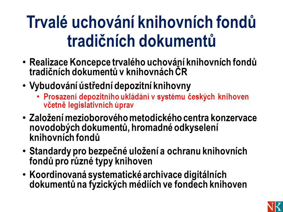 Trvalé uchování knihovních fondů tradičních dokumentů Realizace Koncepce trvalého uchování knihovních fondů tradičních dokumentů v knihovnách ČR Vybud