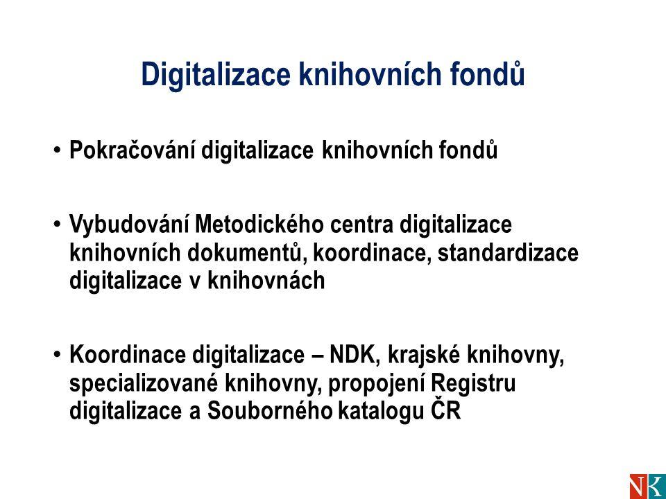 Digitalizace knihovních fondů Pokračování digitalizace knihovních fondů Vybudování Metodického centra digitalizace knihovních dokumentů, koordinace, standardizace digitalizace v knihovnách Koordinace digitalizace – NDK, krajské knihovny, specializované knihovny, propojení Registru digitalizace a Souborného katalogu ČR