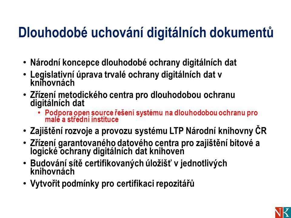 Dlouhodobé uchování digitálních dokumentů Národní koncepce dlouhodobé ochrany digitálních dat Legislativní úprava trvalé ochrany digitálních dat v kni