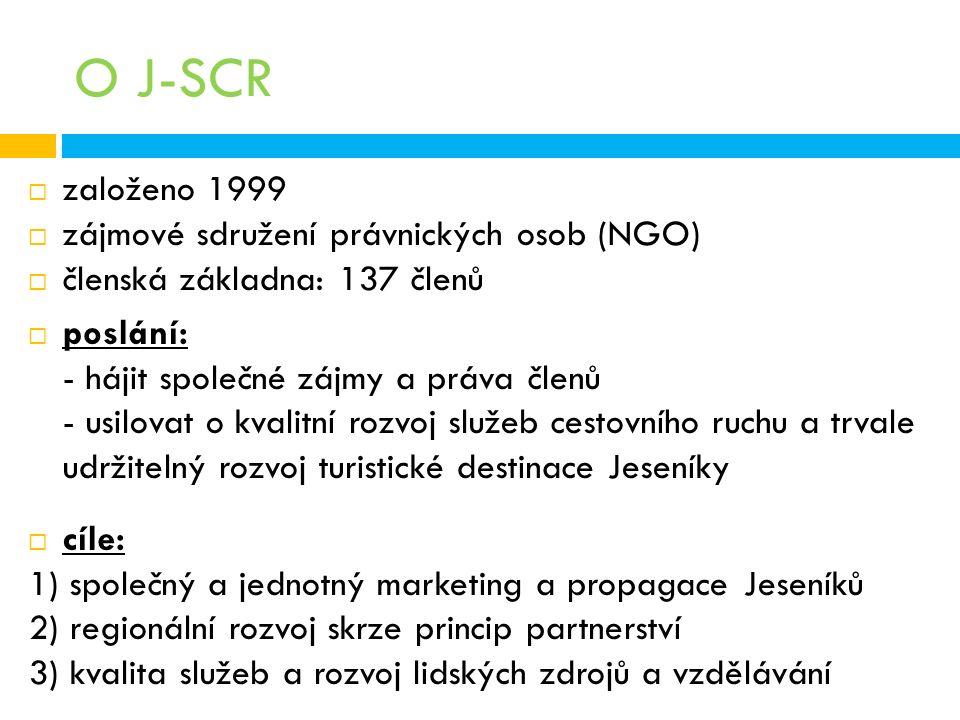 O J-SCR  založeno 1999  zájmové sdružení právnických osob (NGO)  členská základna: 137 členů  poslání: - hájit společné zájmy a práva členů - usilovat o kvalitní rozvoj služeb cestovního ruchu a trvale udržitelný rozvoj turistické destinace Jeseníky  cíle: 1) společný a jednotný marketing a propagace Jeseníků 2) regionální rozvoj skrze princip partnerství 3) kvalita služeb a rozvoj lidských zdrojů a vzdělávání