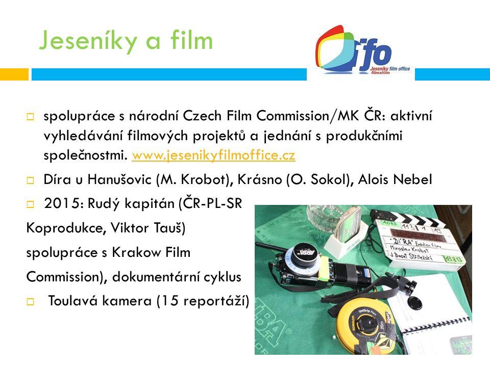 Jeseníky a film  spolupráce s národní Czech Film Commission/MK ČR: aktivní vyhledávání filmových projektů a jednání s produkčními společnostmi.