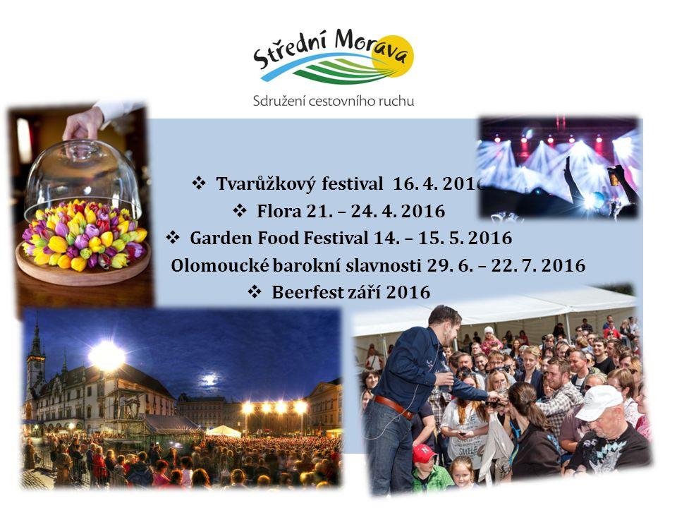  Tvarůžkový festival 16. 4. 2016  Flora 21. – 24. 4. 2016  Garden Food Festival 14. – 15. 5. 2016  Olomoucké barokní slavnosti 29. 6. – 22. 7. 201