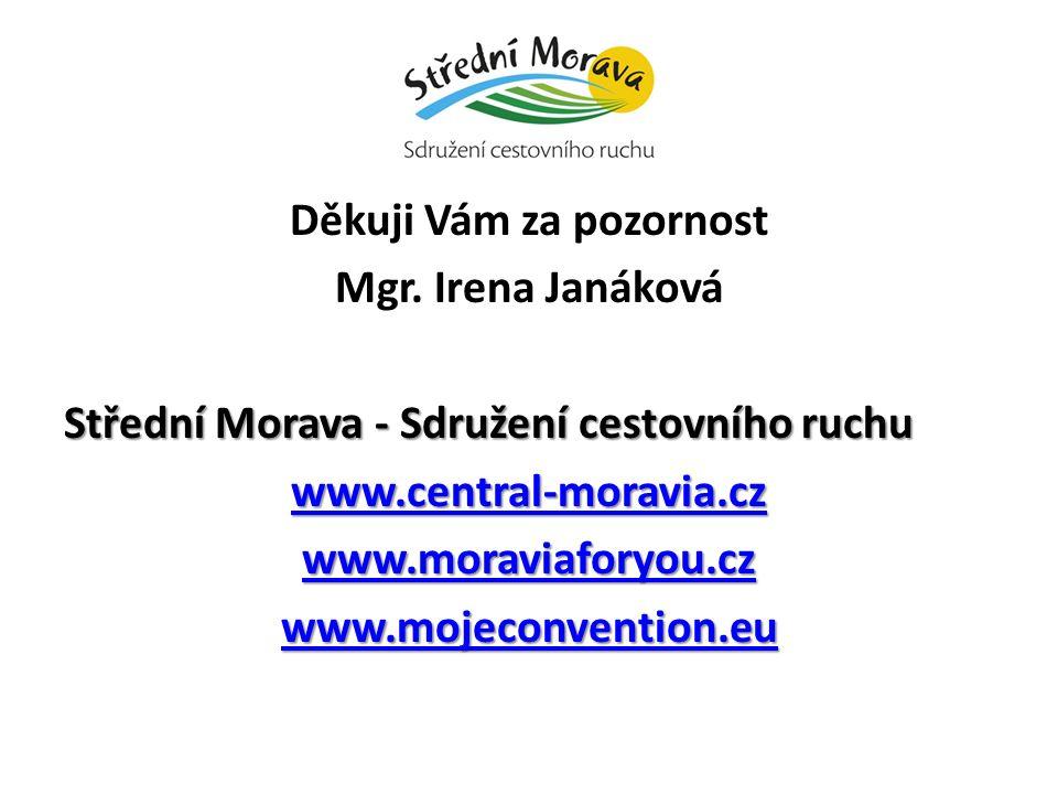 Děkuji Vám za pozornost Mgr. Irena Janáková Střední Morava - Sdružení cestovního ruchu www.central-moravia.cz www.moraviaforyou.cz www.mojeconvention.