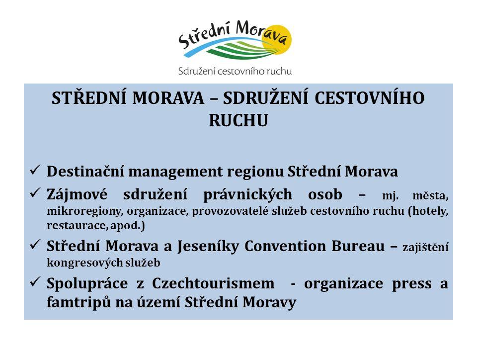 STŘEDNÍ MORAVA – SDRUŽENÍ CESTOVNÍHO RUCHU Destinační management regionu Střední Morava Zájmové sdružení právnických osob – mj.
