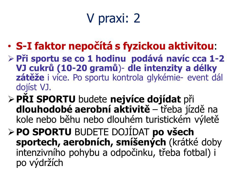 V praxi: 2 S-I faktor nepočítá s fyzickou aktivitou:  Při sportu se co 1 hodinu podává navíc cca 1-2 VJ cukrů (10-20 gramů)- dle intenzity a délky zá