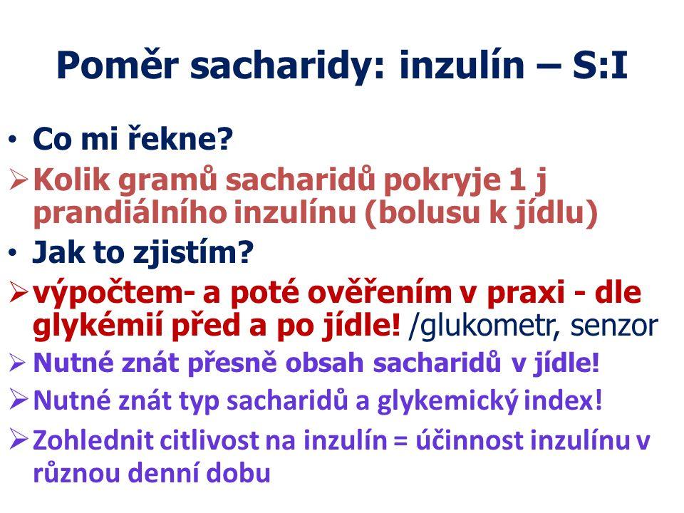 Poměr sacharidy: inzulín – S:I Co mi řekne?  Kolik gramů sacharidů pokryje 1 j prandiálního inzulínu (bolusu k jídlu) Jak to zjistím?  výpočtem- a p