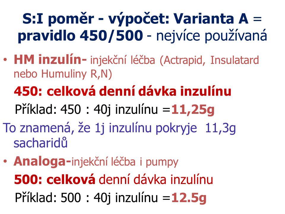 S:I poměr - výpočet: Varianta A = pravidlo 450/500 - nejvíce používaná HM inzulín- injekční léčba (Actrapid, Insulatard nebo Humuliny R,N) 450: celkov