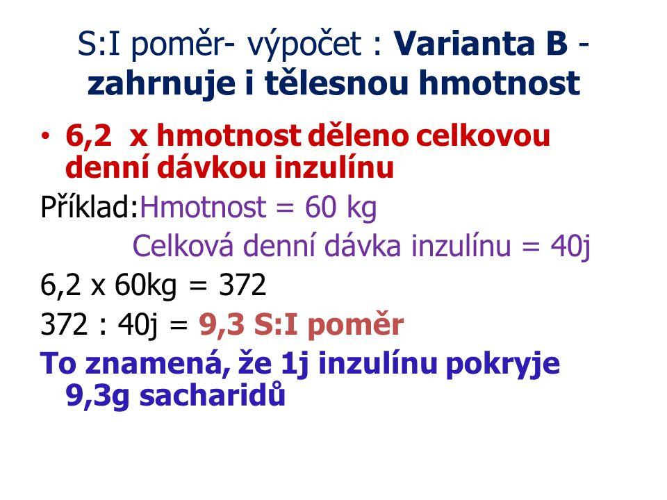 S:I poměr- výpočet : Varianta B - zahrnuje i tělesnou hmotnost 6,2 x hmotnost děleno celkovou denní dávkou inzulínu Příklad:Hmotnost = 60 kg Celková d