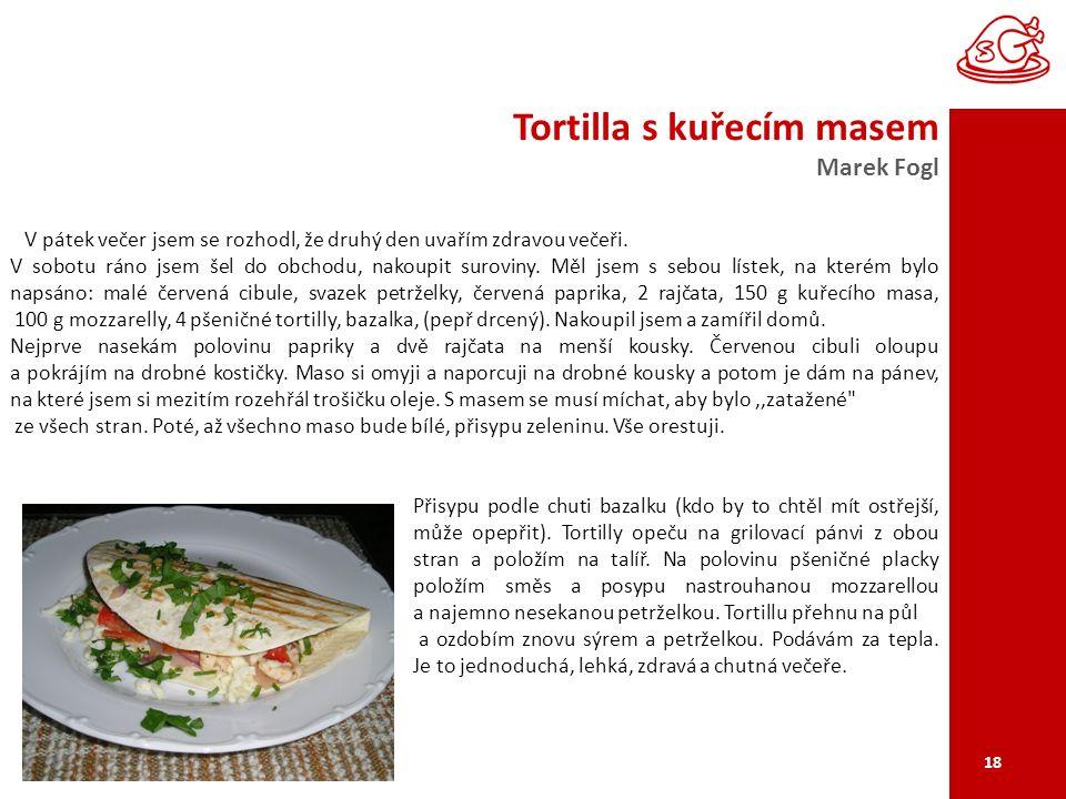 Tortilla s kuřecím masem Marek Fogl 18 V pátek večer jsem se rozhodl, že druhý den uvařím zdravou večeři.