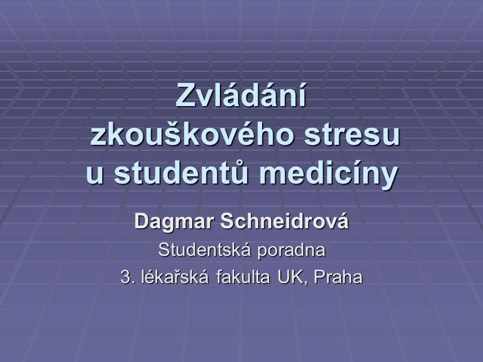 Zvládání zkouškového stresu u studentů medicíny Dagmar Schneidrová Studentská poradna 3.
