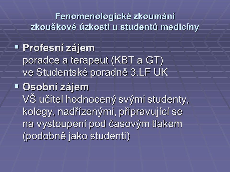 Fenomenologické zkoumání zkouškové úzkosti u studentů medicíny  Profesní zájem poradce a terapeut (KBT a GT) ve Studentské poradně 3.LF UK  Osobní zájem VŠ učitel hodnocený svými studenty, kolegy, nadřízenými, připravující se na vystoupení pod časovým tlakem (podobně jako studenti)