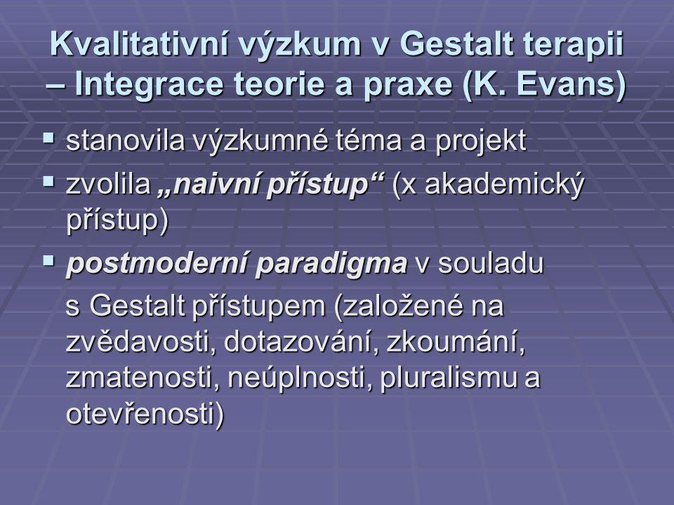 """Kvalitativní výzkum v Gestalt terapii – Integrace teorie a praxe (K. Evans)  stanovila výzkumné téma a projekt  zvolila """"naivní přístup"""" (x akademic"""