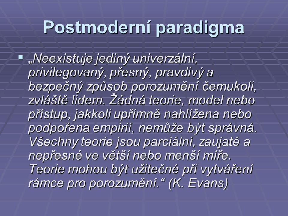 """Postmoderní paradigma  """"Neexistuje jediný univerzální, privilegovaný, přesný, pravdivý a bezpečný způsob porozumění čemukoli, zvláště lidem."""
