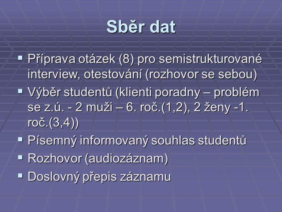 Sběr dat  Příprava otázek (8) pro semistrukturované interview, otestování (rozhovor se sebou)  Výběr studentů (klienti poradny – problém se z.ú.