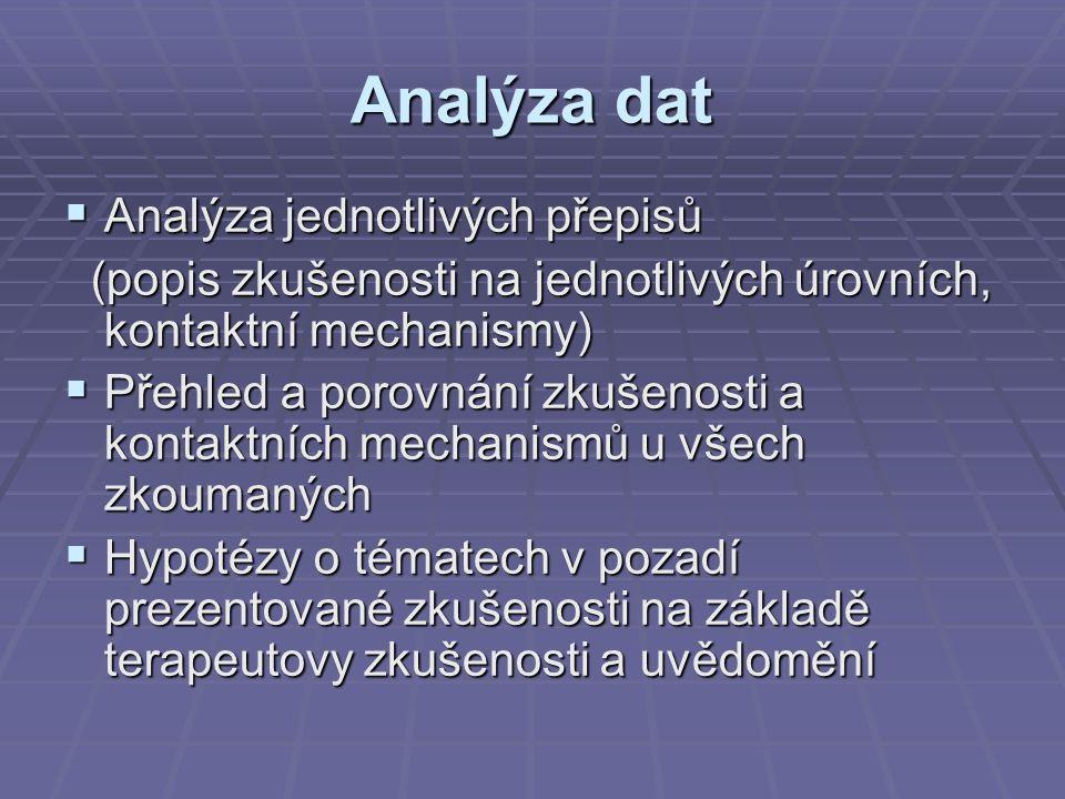 Analýza dat  Analýza jednotlivých přepisů (popis zkušenosti na jednotlivých úrovních, kontaktní mechanismy) (popis zkušenosti na jednotlivých úrovních, kontaktní mechanismy)  Přehled a porovnání zkušenosti a kontaktních mechanismů u všech zkoumaných  Hypotézy o tématech v pozadí prezentované zkušenosti na základě terapeutovy zkušenosti a uvědomění