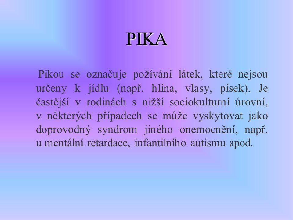 PIKA Pikou se označuje požívání látek, které nejsou určeny k jídlu (např.
