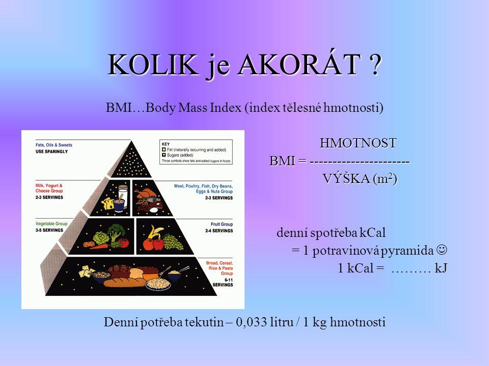 KOLIK je AKORÁT ? BMI…Body Mass Index (index tělesné hmotnosti) HMOTNOST BMI = ---------------------- BMI = ---------------------- VÝŠKA (m 2 ) VÝŠKA