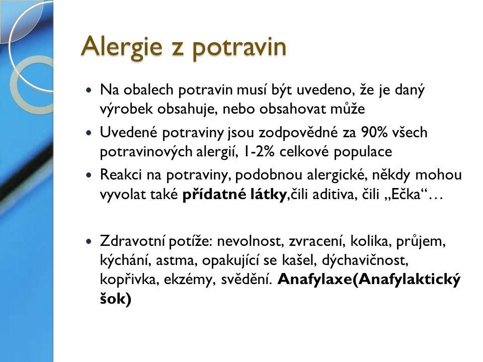 """Alergie z potravin Na obalech potravin musí být uvedeno, že je daný výrobek obsahuje, nebo obsahovat může Uvedené potraviny jsou zodpovědné za 90% všech potravinových alergií, 1-2% celkové populace Reakci na potraviny, podobnou alergické, někdy mohou vyvolat také přídatné látky,čili aditiva, čili """"Ečka … Zdravotní potíže: nevolnost, zvracení, kolika, průjem, kýchání, astma, opakující se kašel, dýchavičnost, kopřivka, ekzémy, svědění."""
