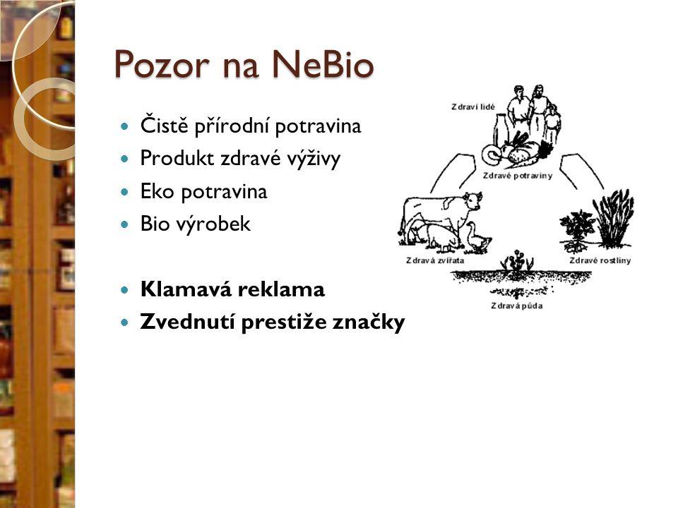 Pozor na NeBio Čistě přírodní potravina Produkt zdravé výživy Eko potravina Bio výrobek Klamavá reklama Zvednutí prestiže značky