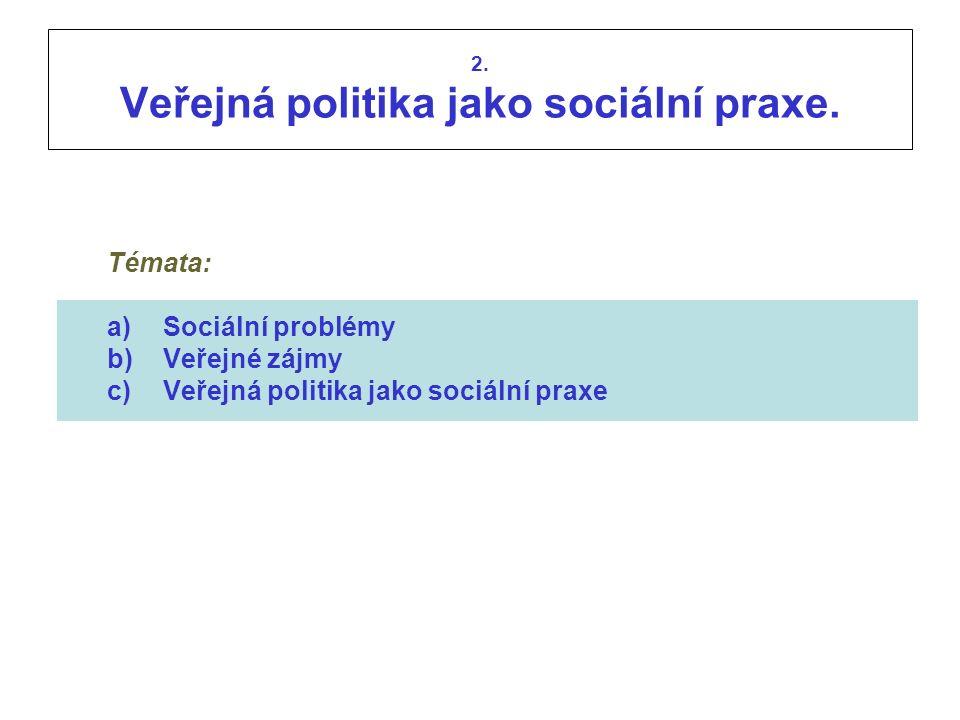 2. Veřejná politika jako sociální praxe. Témata: a)Sociální problémy b)Veřejné zájmy c)Veřejná politika jako sociální praxe