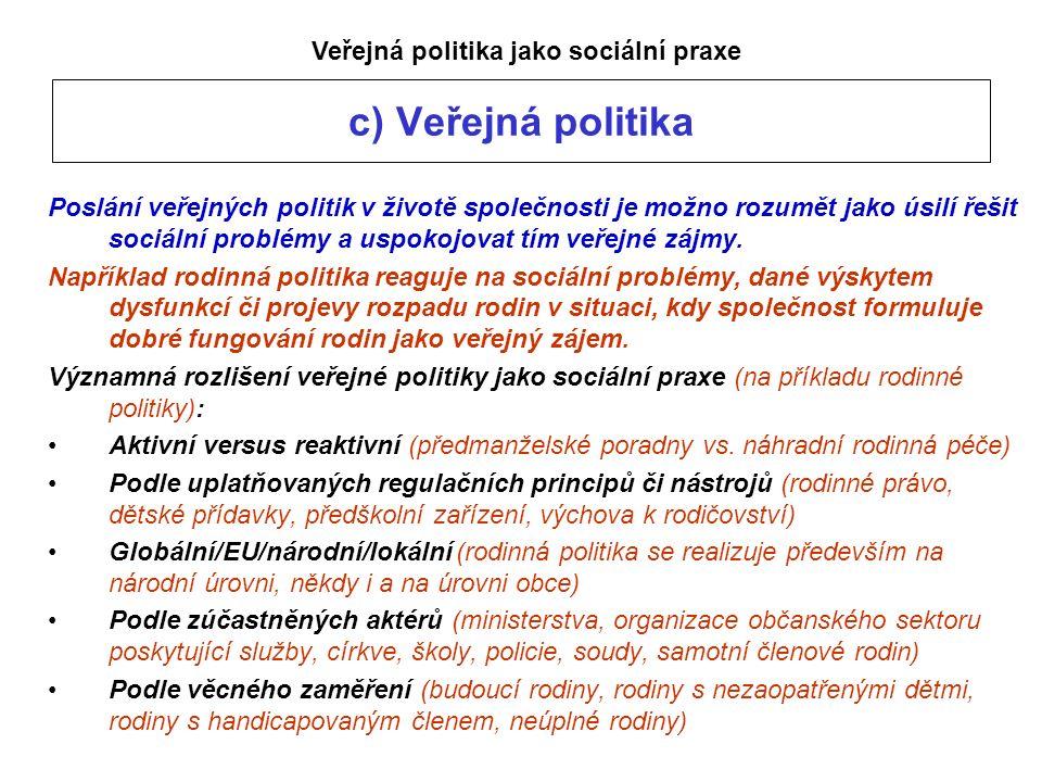 c) Veřejná politika Poslání veřejných politik v životě společnosti je možno rozumět jako úsilí řešit sociální problémy a uspokojovat tím veřejné zájmy.
