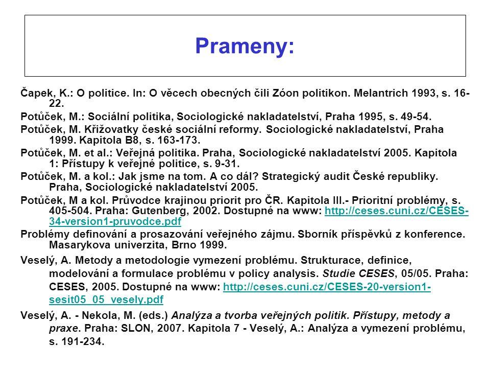 Prameny: Čapek, K.: O politice. In: O věcech obecných čili Zóon politikon. Melantrich 1993, s. 16- 22. Potůček, M.: Sociální politika, Sociologické na
