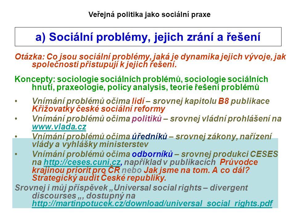 a) Sociální problémy, jejich zrání a řešení Otázka: Co jsou sociální problémy, jaká je dynamika jejich vývoje, jak společnosti přistupují k jejich řeš