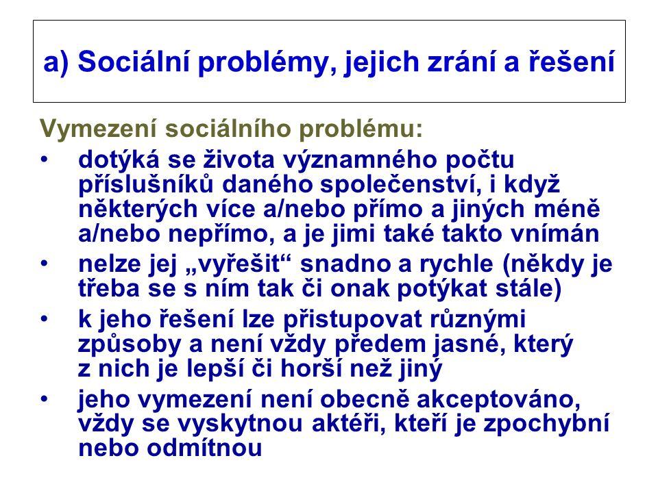 """a) Sociální problémy, jejich zrání a řešení Vymezení sociálního problému: dotýká se života významného počtu příslušníků daného společenství, i když některých více a/nebo přímo a jiných méně a/nebo nepřímo, a je jimi také takto vnímán nelze jej """"vyřešit snadno a rychle (někdy je třeba se s ním tak či onak potýkat stále) k jeho řešení lze přistupovat různými způsoby a není vždy předem jasné, který z nich je lepší či horší než jiný jeho vymezení není obecně akceptováno, vždy se vyskytnou aktéři, kteří je zpochybní nebo odmítnou"""