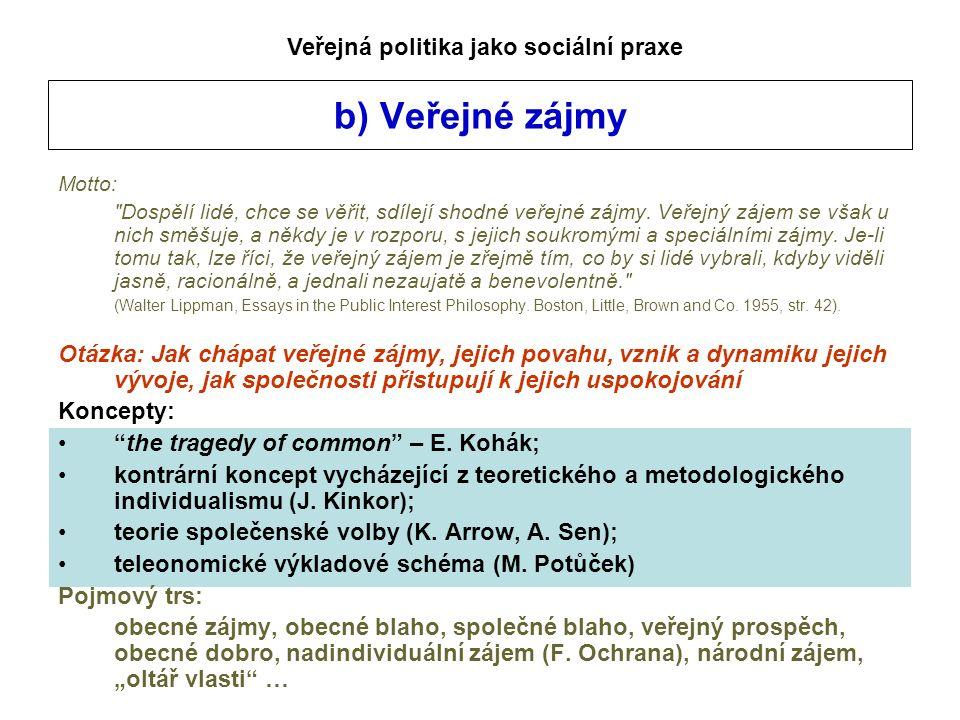 b) Veřejné zájmy Motto: