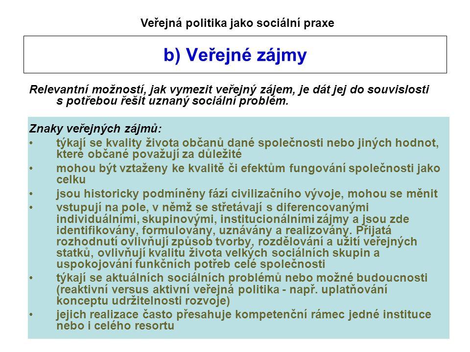 b) Veřejné zájmy Relevantní možností, jak vymezit veřejný zájem, je dát jej do souvislosti s potřebou řešit uznaný sociální problém. Znaky veřejných z