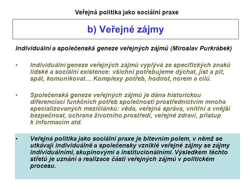 b) Veřejné zájmy Individuální a společenská geneze veřejných zájmů (Miroslav Purkrábek) Individuální geneze veřejných zájmů vyplývá ze specifických znaků lidské a sociální existence: všichni potřebujeme dýchat, jíst a pít, spát, komunikovat… Komplexy potřeb, hodnot, norem a cílů.