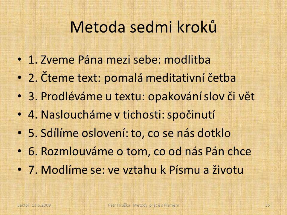 Metoda sedmi kroků 1. Zveme Pána mezi sebe: modlitba 2. Čteme text: pomalá meditativní četba 3. Prodléváme u textu: opakování slov či vět 4. Naslouchá