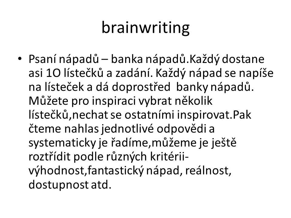 brainwriting Psaní nápadů – banka nápadů.Každý dostane asi 1O lístečků a zadání. Každý nápad se napíše na lísteček a dá doprostřed banky nápadů. Můžet