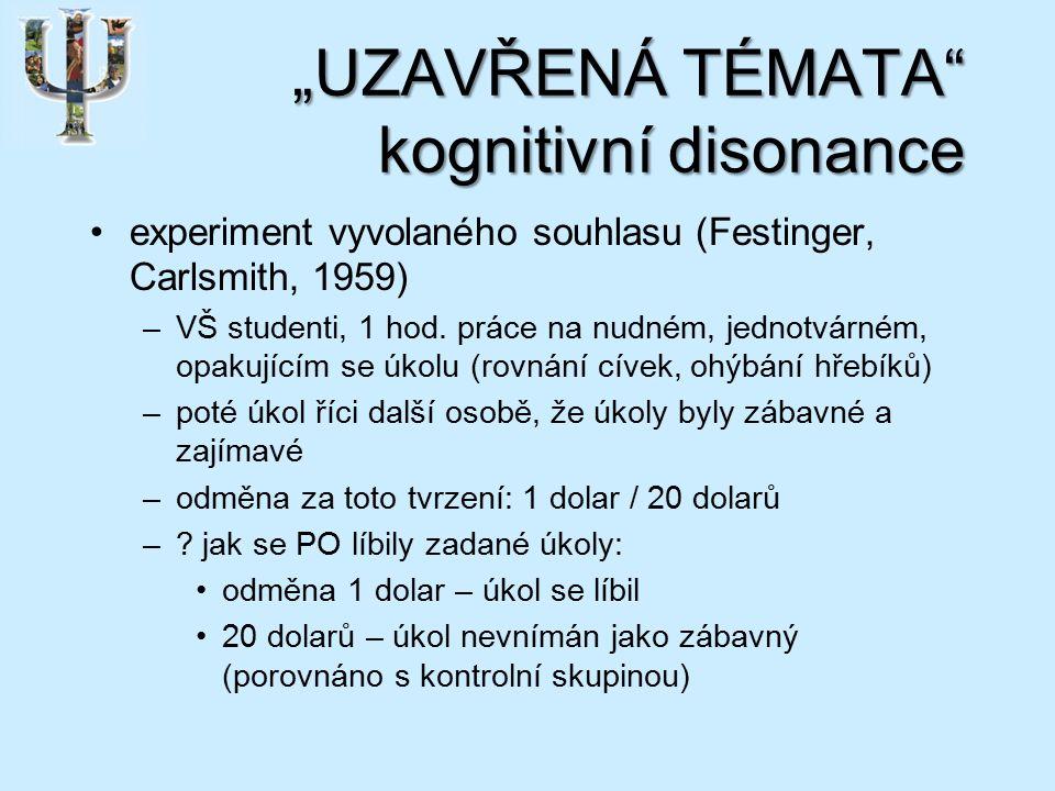 """""""UZAVŘENÁ TÉMATA kognitivní disonance experiment vyvolaného souhlasu (Festinger, Carlsmith, 1959) –VŠ studenti, 1 hod."""